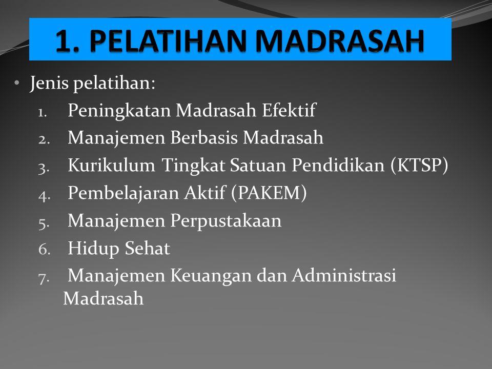 Jenis pelatihan: 1. Peningkatan Madrasah Efektif 2. Manajemen Berbasis Madrasah 3. Kurikulum Tingkat Satuan Pendidikan (KTSP) 4. Pembelajaran Aktif (P