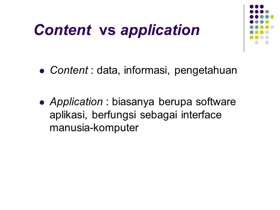 Content vs application Content : data, informasi, pengetahuan Application : biasanya berupa software aplikasi, berfungsi sebagai interface manusia-kom