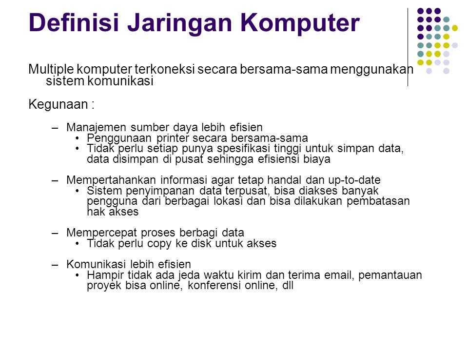 Definisi Jaringan Komputer Multiple komputer terkoneksi secara bersama-sama menggunakan sistem komunikasi Kegunaan : –Manajemen sumber daya lebih efis