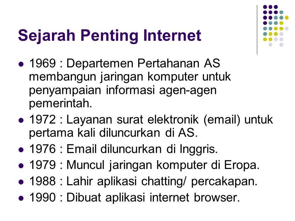 Sejarah Penting Internet 1969 : Departemen Pertahanan AS membangun jaringan komputer untuk penyampaian informasi agen-agen pemerintah. 1972 : Layanan