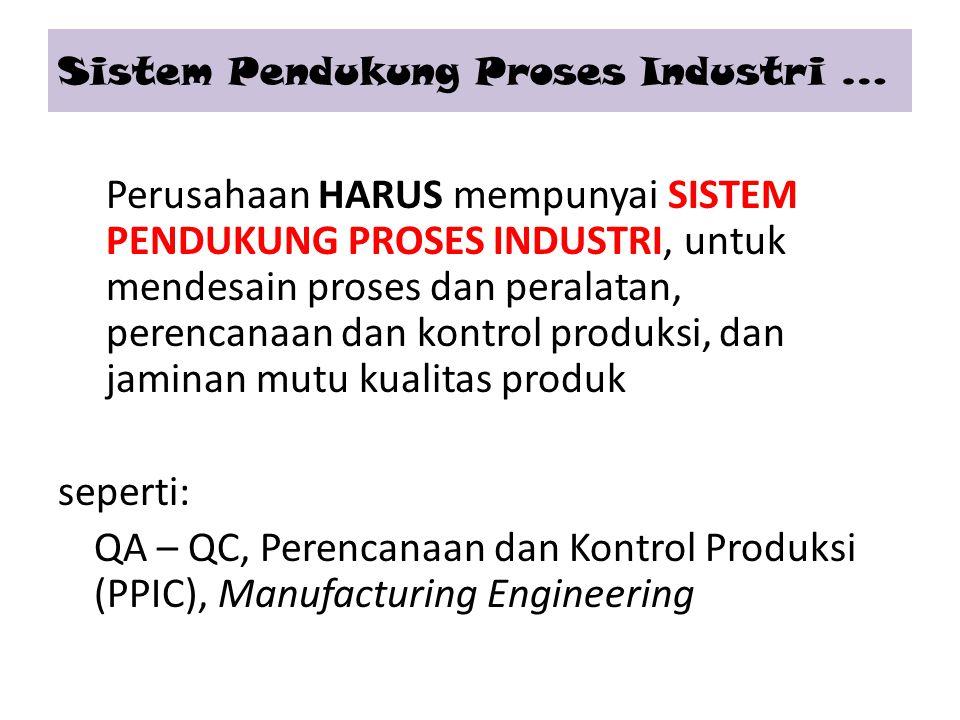 Perusahaan HARUS mempunyai SISTEM PENDUKUNG PROSES INDUSTRI, untuk mendesain proses dan peralatan, perencanaan dan kontrol produksi, dan jaminan mutu kualitas produk seperti: QA – QC, Perencanaan dan Kontrol Produksi (PPIC), Manufacturing Engineering Sistem Pendukung Proses Industri …