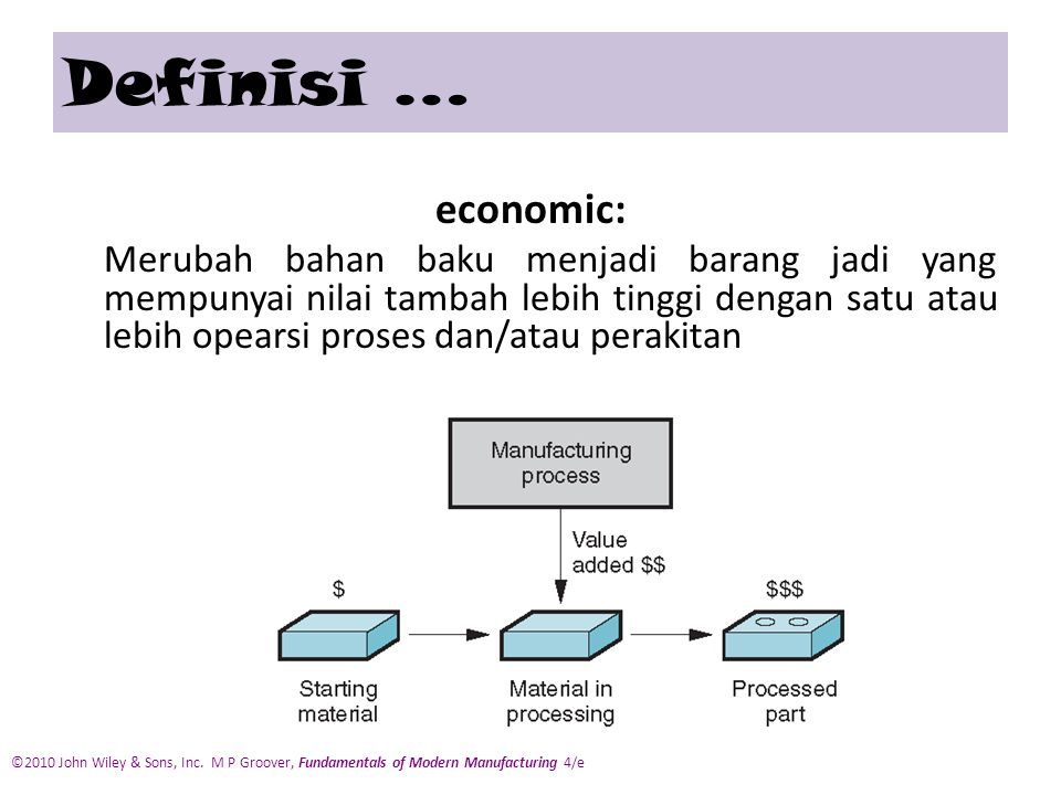 economic: Merubah bahan baku menjadi barang jadi yang mempunyai nilai tambah lebih tinggi dengan satu atau lebih opearsi proses dan/atau perakitan Definisi … ©2010 John Wiley & Sons, Inc.
