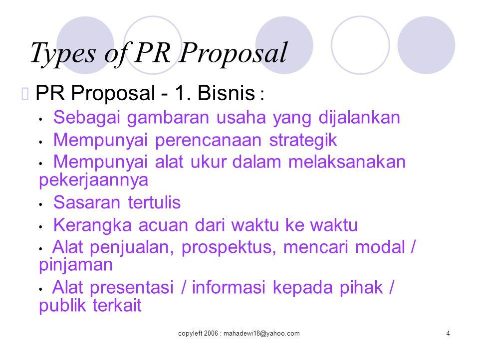 Types of PR Proposal  PR Proposal - 1.