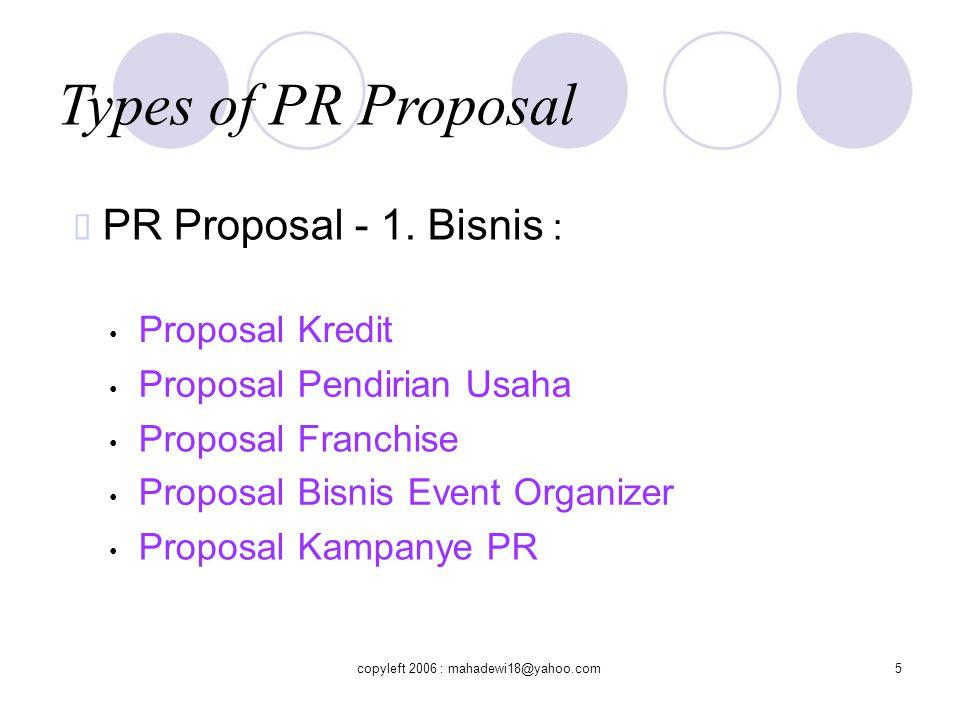 Types of PR Proposal  PR Proposal - 2.