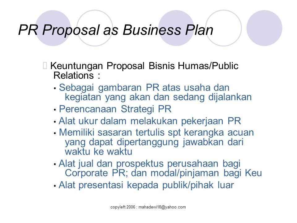 PR Proposal as Risk Management  Bagaimana menjual proposal.