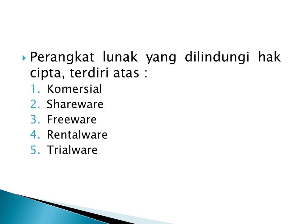  Perangkat lunak yang dilindungi hak cipta, terdiri atas : 1.Komersial 2.Shareware 3.Freeware 4.Rentalware 5.Trialware