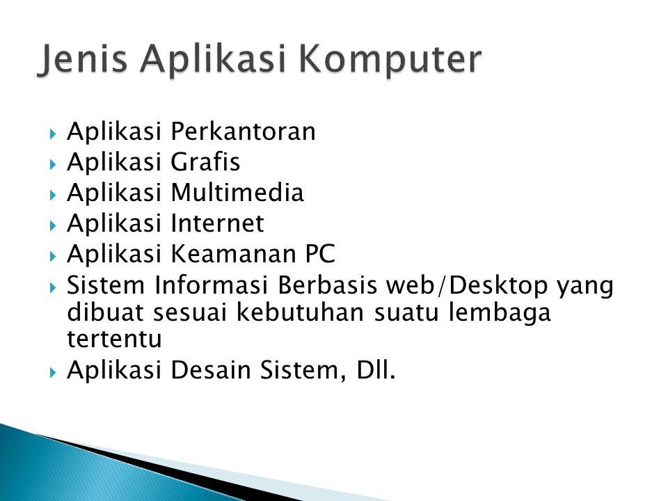  Aplikasi Perkantoran  Aplikasi Grafis  Aplikasi Multimedia  Aplikasi Internet  Aplikasi Keamanan PC  Sistem Informasi Berbasis web/Desktop yang