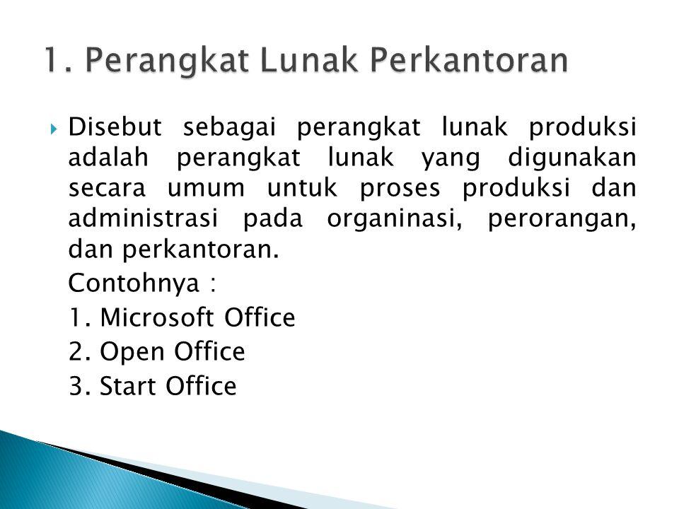  Disebut sebagai perangkat lunak produksi adalah perangkat lunak yang digunakan secara umum untuk proses produksi dan administrasi pada organinasi, p