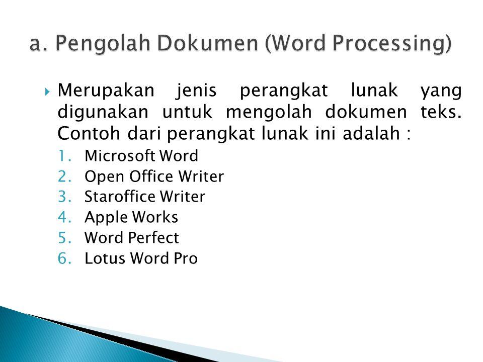 Merupakan jenis perangkat lunak yang digunakan untuk mengolah dokumen teks. Contoh dari perangkat lunak ini adalah : 1.Microsoft Word 2.Open Office