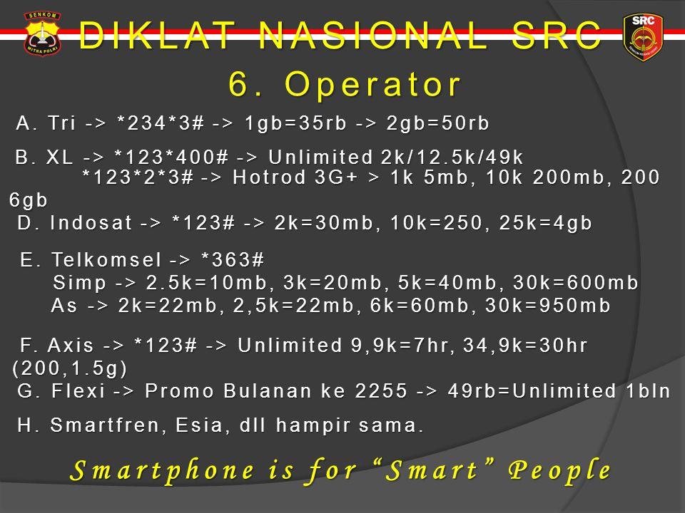 DIKLAT NASIONAL SRC 6. Operator 6. Operator A. Tri -> *234*3# -> 1gb=35rb -> 2gb=50rb A. Tri -> *234*3# -> 1gb=35rb -> 2gb=50rb B. XL -> *123*400# ->