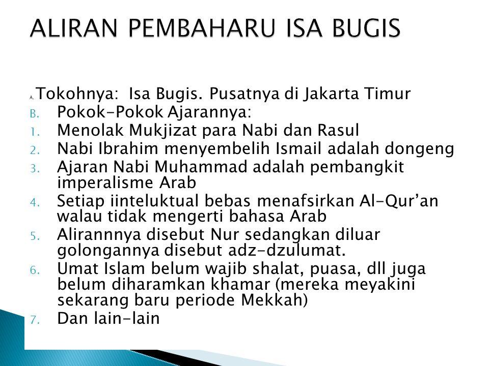 A. Tokohnya: Isa Bugis. Pusatnya di Jakarta Timur B. Pokok-Pokok Ajarannya: 1. Menolak Mukjizat para Nabi dan Rasul 2. Nabi Ibrahim menyembelih Ismail