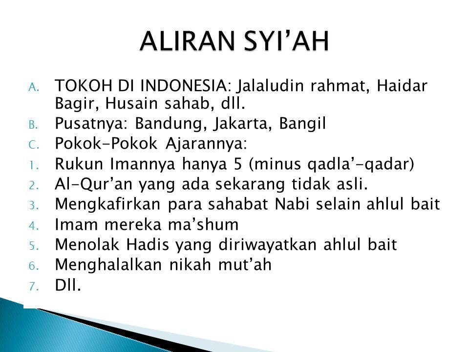 A. TOKOH DI INDONESIA: Jalaludin rahmat, Haidar Bagir, Husain sahab, dll. B. Pusatnya: Bandung, Jakarta, Bangil C. Pokok-Pokok Ajarannya: 1. Rukun Ima