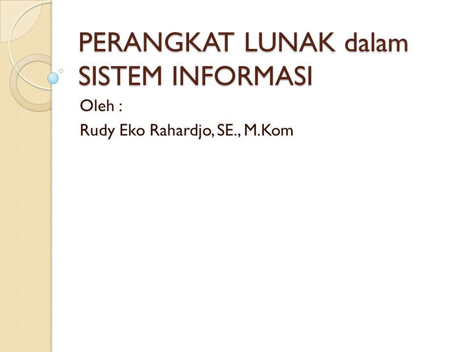 PERANGKAT LUNAK dalam SISTEM INFORMASI Oleh : Rudy Eko Rahardjo, SE., M.Kom