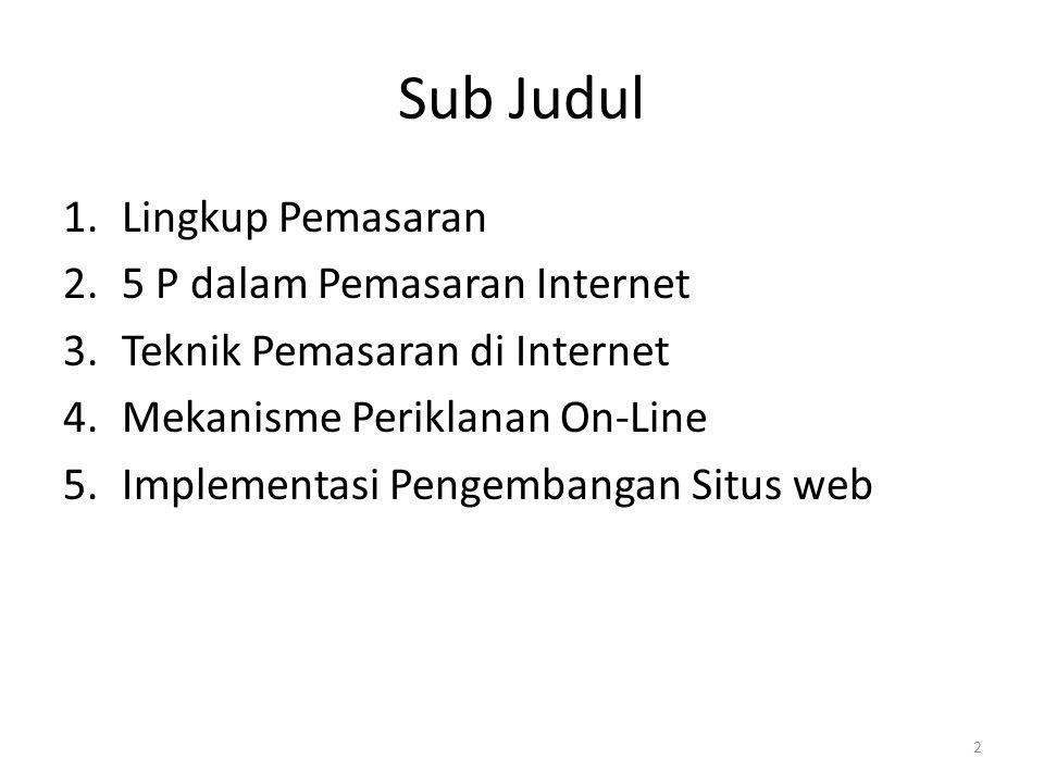 Sub Judul 1.Lingkup Pemasaran 2.5 P dalam Pemasaran Internet 3.Teknik Pemasaran di Internet 4.Mekanisme Periklanan On-Line 5.Implementasi Pengembangan