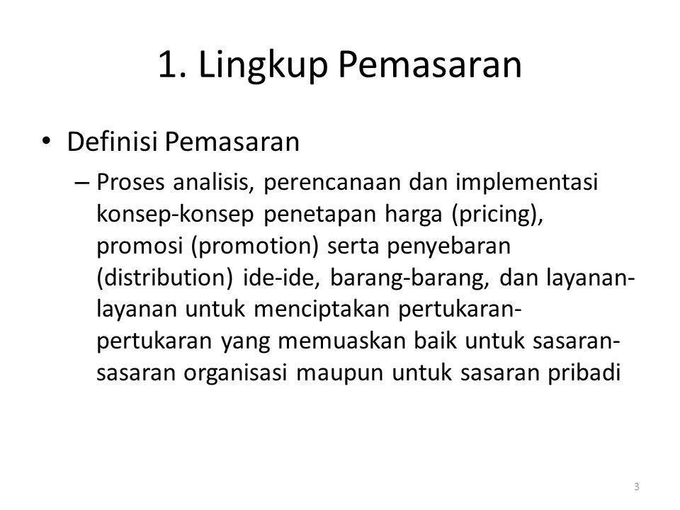 1. Lingkup Pemasaran Definisi Pemasaran – Proses analisis, perencanaan dan implementasi konsep-konsep penetapan harga (pricing), promosi (promotion) s