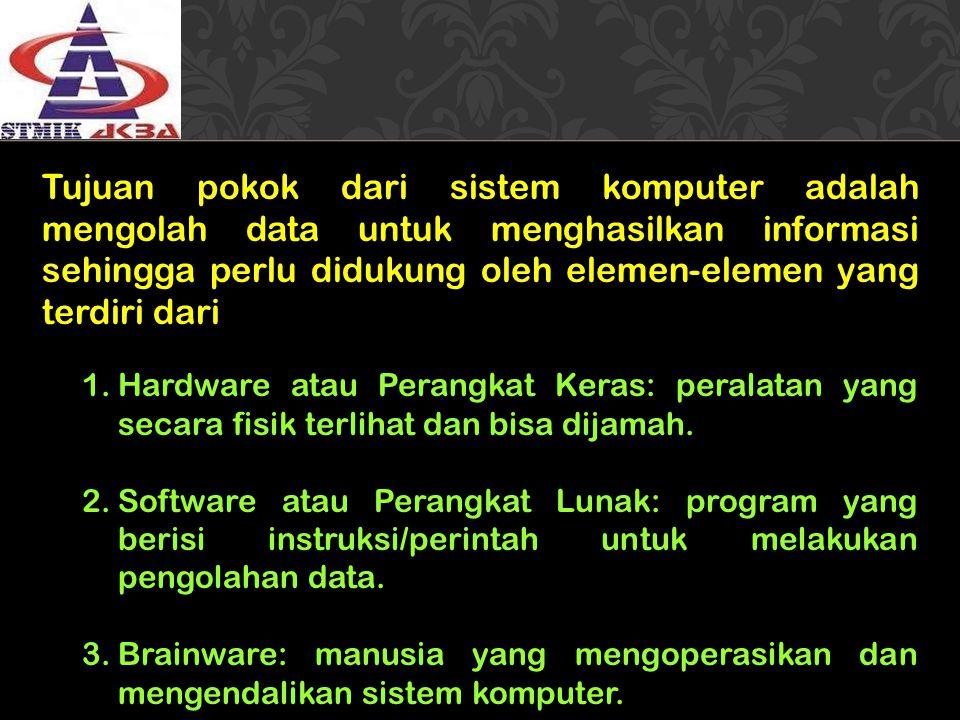 Tujuan pokok dari sistem komputer adalah mengolah data untuk menghasilkan informasi sehingga perlu didukung oleh elemen-elemen yang terdiri dari 1.Har