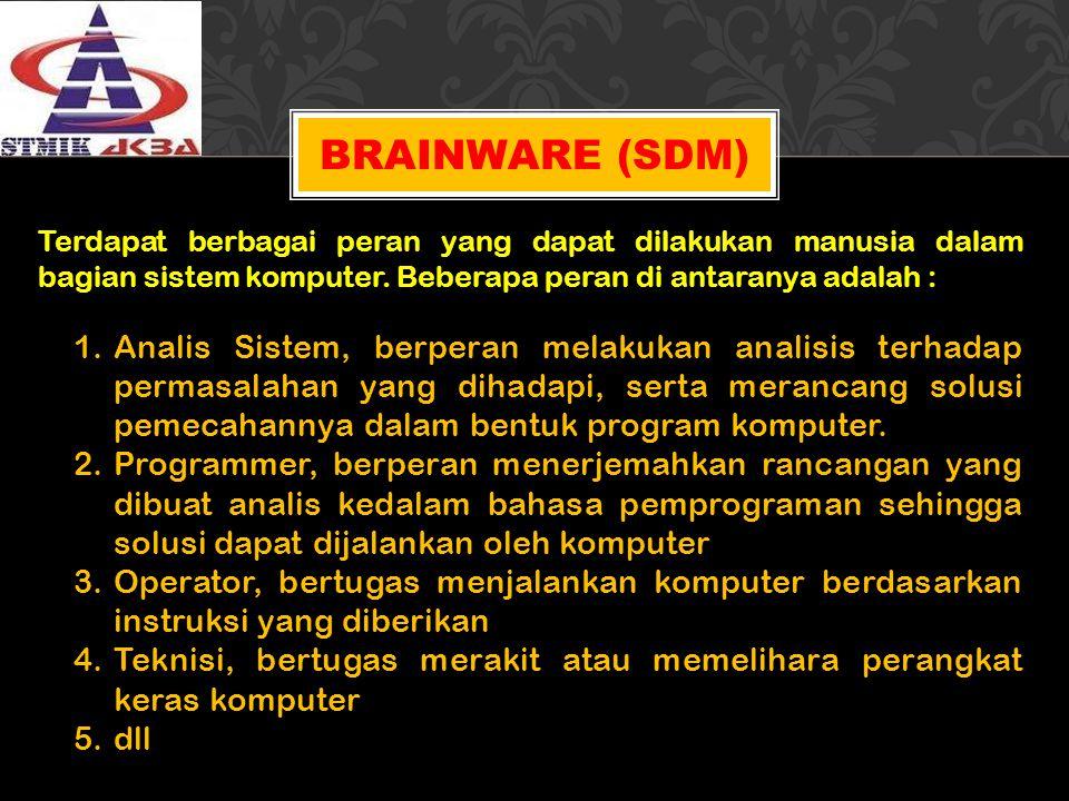 BRAINWARE (SDM) Terdapat berbagai peran yang dapat dilakukan manusia dalam bagian sistem komputer. Beberapa peran di antaranya adalah : 1.Analis Siste