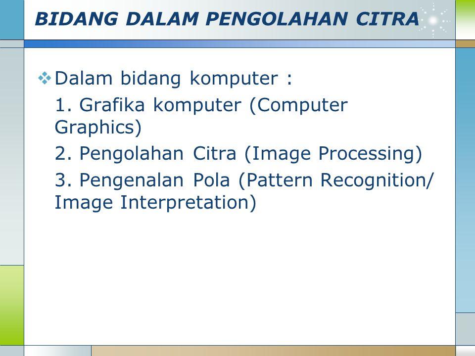 BIDANG DALAM PENGOLAHAN CITRA  Dalam bidang komputer : 1. Grafika komputer (Computer Graphics) 2. Pengolahan Citra (Image Processing) 3. Pengenalan P