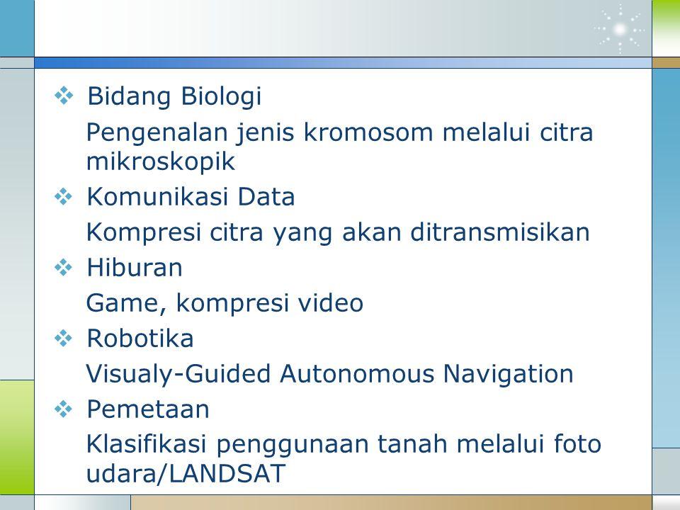  Bidang Biologi Pengenalan jenis kromosom melalui citra mikroskopik  Komunikasi Data Kompresi citra yang akan ditransmisikan  Hiburan Game, kompres