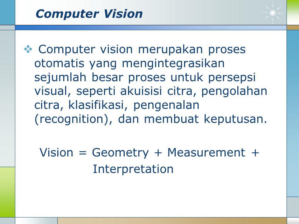 Computer Vision  Computer vision merupakan proses otomatis yang mengintegrasikan sejumlah besar proses untuk persepsi visual, seperti akuisisi citra,