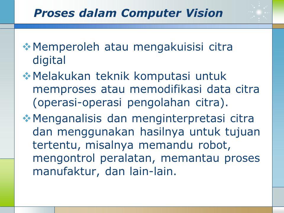 Proses dalam Computer Vision  Memperoleh atau mengakuisisi citra digital  Melakukan teknik komputasi untuk memproses atau memodifikasi data citra (o