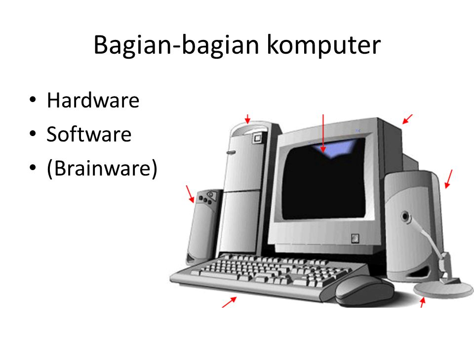 [1] Hardware (perangkat keras) Input devices (perangkat masukan) – Keyboard, mouse, microphone, touch screen, dll Aritmatic Logic Unit (unit pemroses ) – Processor / CPU Output devices (perangkat keluaran) – Display, printer, speaker, dll – Chasing, CD-RW, Disc?