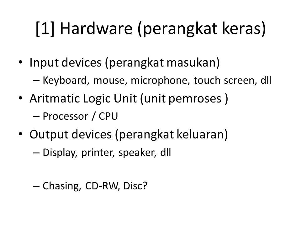[1] Hardware (perangkat keras) Input devices (perangkat masukan) – Keyboard, mouse, microphone, touch screen, dll Aritmatic Logic Unit (unit pemroses ) – Processor / CPU Output devices (perangkat keluaran) – Display, printer, speaker, dll – Chasing, CD-RW, Disc?