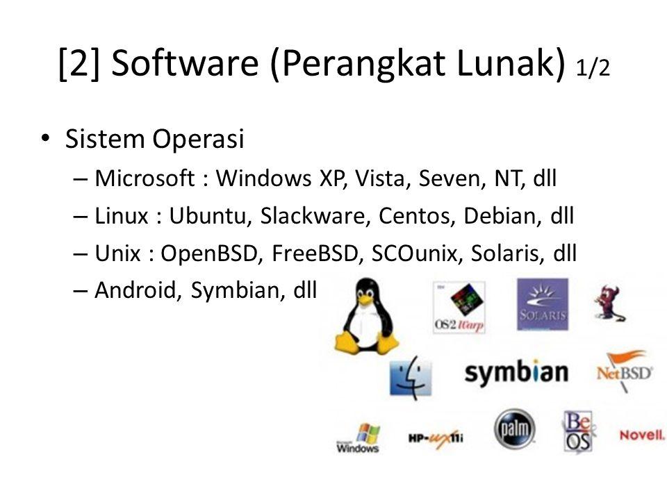 [2] Software (Perangkat Lunak) 1/2 Sistem Operasi – Microsoft : Windows XP, Vista, Seven, NT, dll – Linux : Ubuntu, Slackware, Centos, Debian, dll – Unix : OpenBSD, FreeBSD, SCOunix, Solaris, dll – Android, Symbian, dll