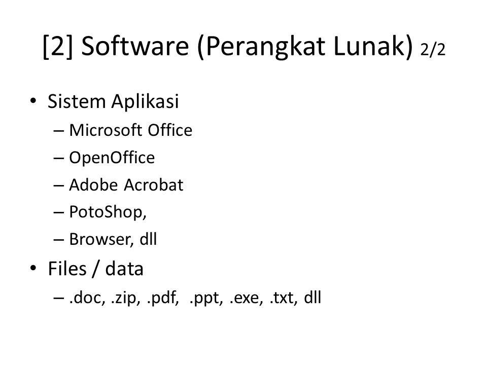 [2] Software (Perangkat Lunak) 2/2 Sistem Aplikasi – Microsoft Office – OpenOffice – Adobe Acrobat – PotoShop, – Browser, dll Files / data –.doc,.zip,.pdf,.ppt,.exe,.txt, dll