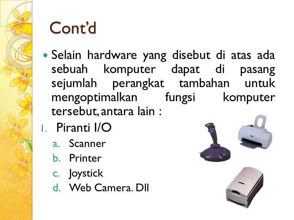 Cont'd Selain hardware yang disebut di atas ada sebuah komputer dapat di pasang sejumlah perangkat tambahan untuk mengoptimalkan fungsi komputer terse