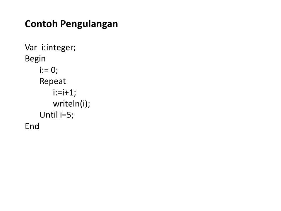 Var i:integer; Begin i:= 0; Repeat i:=i+1; writeln(i); Until i=5; End Contoh Pengulangan