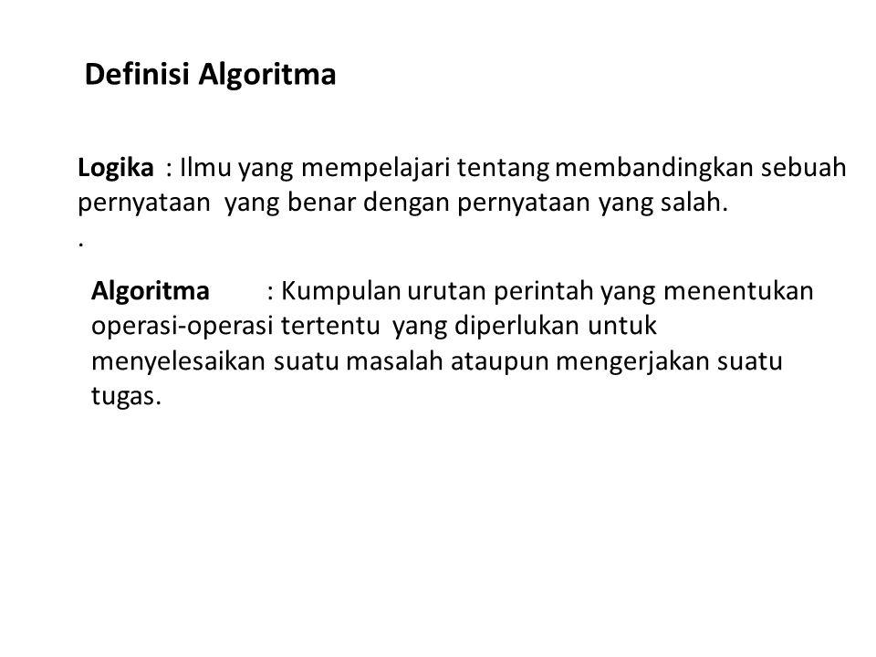 Logika: Ilmu yang mempelajari tentang membandingkan sebuah pernyataan yang benar dengan pernyataan yang salah.. Definisi Algoritma Algoritma : Kumpula