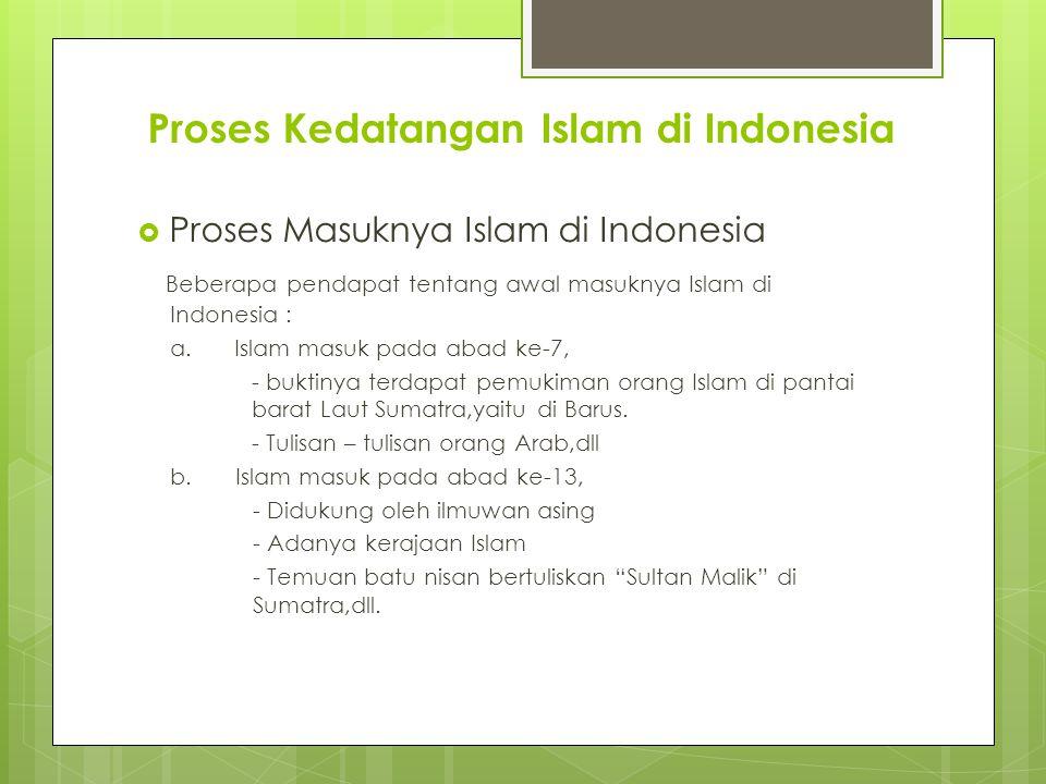 Proses Kedatangan Islam di Indonesia  Proses Masuknya Islam di Indonesia Beberapa pendapat tentang awal masuknya Islam di Indonesia : a.Islam masuk p