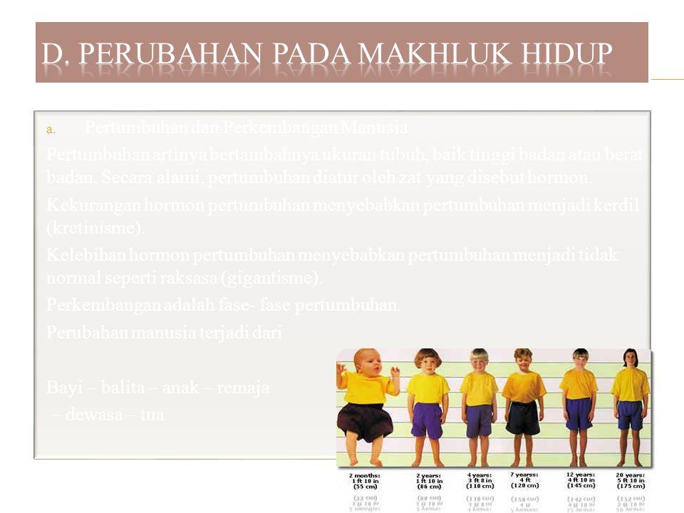 a. Pertumbuhan dan Perkembangan Manusia Pertumbuhan artinya bertambahnya ukuran tubuh, baik tinggi badan atau berat badan. Secara alami, pertumbuhan d