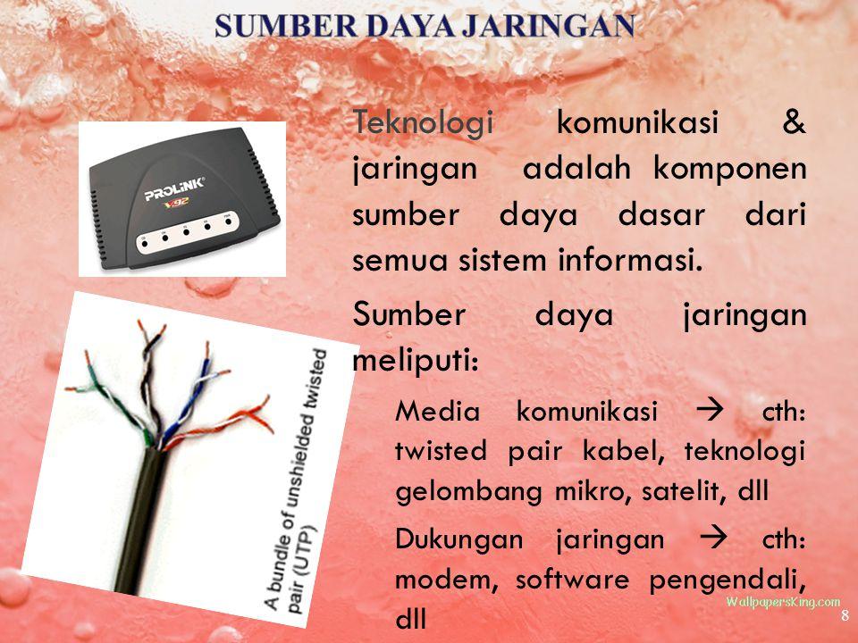 8 Teknologi komunikasi & jaringan adalah komponen sumber daya dasar dari semua sistem informasi. Sumber daya jaringan meliputi: Media komunikasi  cth