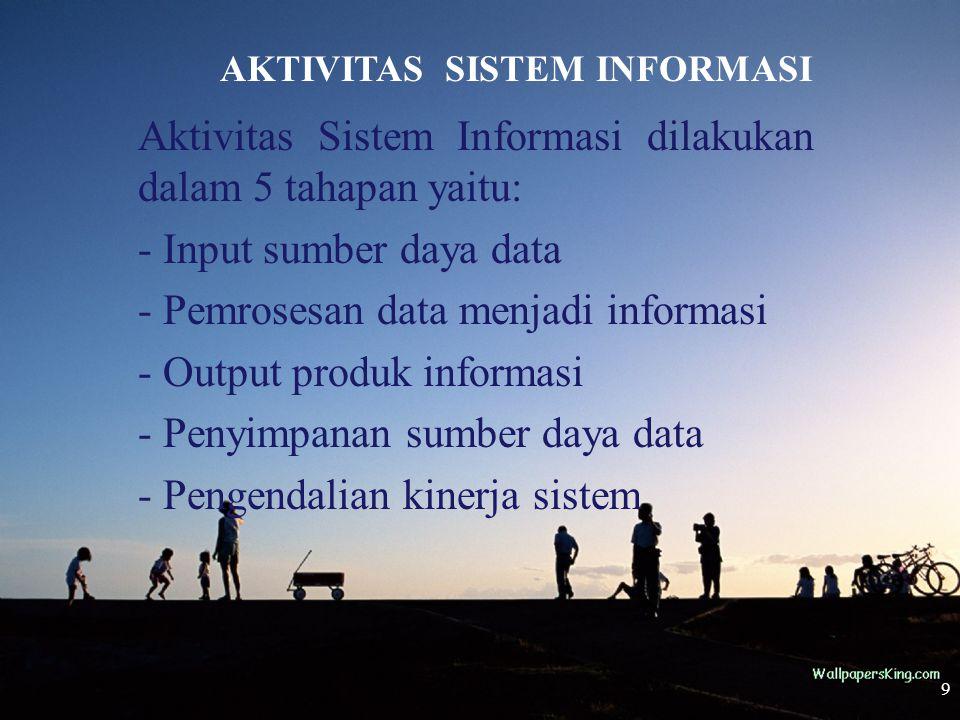 9 AKTIVITAS SISTEM INFORMASI Aktivitas Sistem Informasi dilakukan dalam 5 tahapan yaitu: - Input sumber daya data - Pemrosesan data menjadi informasi