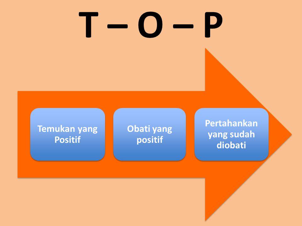T – O – P Temukan yang Positif Obati yang positif Pertahankan yang sudah diobati
