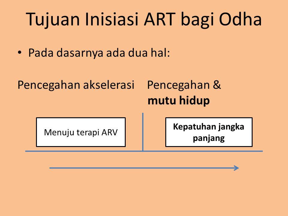 Tujuan Inisiasi ART bagi Odha Pada dasarnya ada dua hal: Pencegahan akselerasiPencegahan & mutu hidup Menuju terapi ARV Kepatuhan jangka panjang