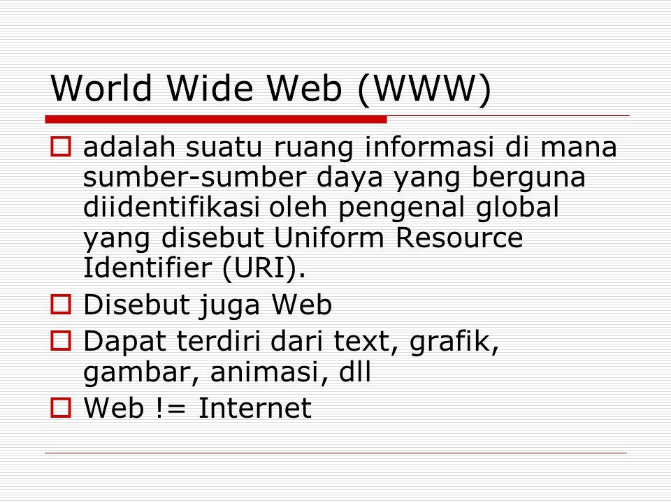 World Wide Web (WWW)  adalah suatu ruang informasi di mana sumber-sumber daya yang berguna diidentifikasi oleh pengenal global yang disebut Uniform Resource Identifier (URI).