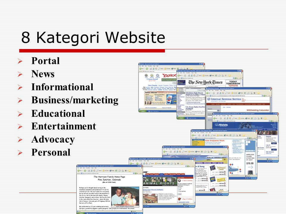 8 Kategori Website  Portal  News  Informational  Business/marketing  Educational  Entertainment  Advocacy  Personal