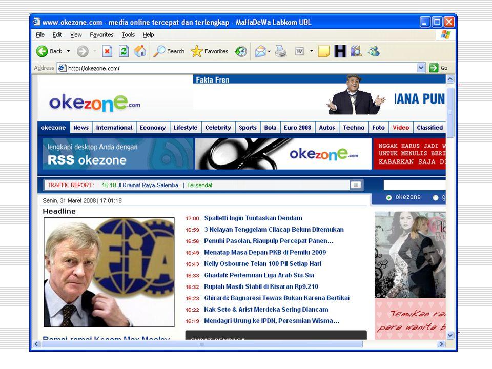 Situs Informasi  Situs yang menyajikan informasi  Biasanya dibuat oleh perusahaan atau badan atau organisasi.