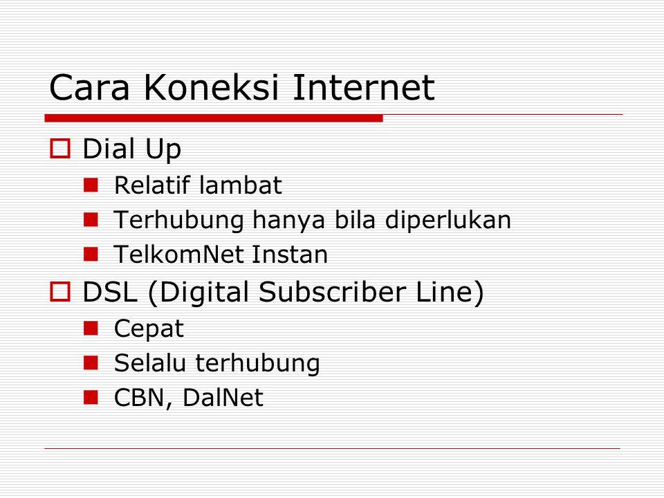 Cara Koneksi Internet  Dial Up Relatif lambat Terhubung hanya bila diperlukan TelkomNet Instan  DSL (Digital Subscriber Line) Cepat Selalu terhubung CBN, DalNet