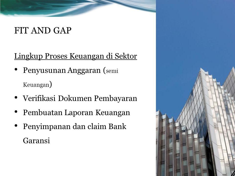FIT AND GAP Lingkup Proses Keuangan di Sektor Penyusunan Anggaran ( semi Keuangan ) Verifikasi Dokumen Pembayaran Pembuatan Laporan Keuangan Penyimpan
