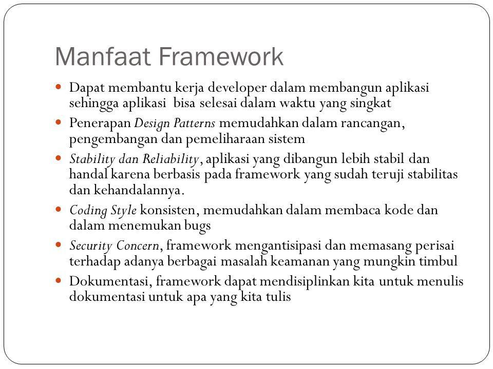 Kekurangan Penggunaan Framework Para programmer mungkin akan menemukan batasan-batasan ketika merancang aplikasi menggunakan framework Kemungkinan akan menambah biaya development apabila framework yang digunakan kurang terdokumentasi dan kurang di support Performa dan kecepatan eksekusi