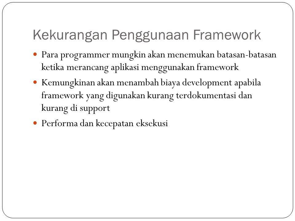 Macam-macam Framework Framework PHP o CakePHP o Code Igniter (CI) o Symphony o Zend o Yii o Kohana Framework Javascript o JQuery o Mootools Framework Ruby o Ruby on Rails (ROR)