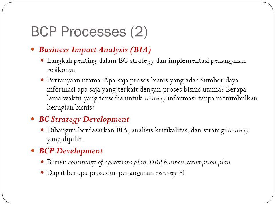BCP Processes (2) Business Impact Analysis (BIA) Langkah penting dalam BC strategy dan implementasi penanganan resikonya Pertanyaan utama: Apa saja pr