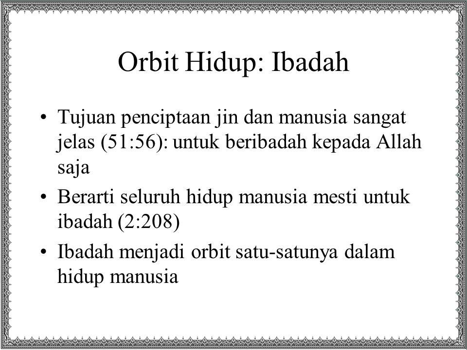 Ibadah Ritual Kalau hanya ibadah ritual saja, tidak akan tercapai tujuan itu Shalat, mungkin hanya memerlukan waktu 50 menit dalam sehari Tilawah al-Qur'an, mungkin hanya perlu 30 menit saja Karena itu, ibadah yang dimaksud mestilah mencakup SELURUH KEHIDUPAN manusia atau disebut syumul (menyeluruh)