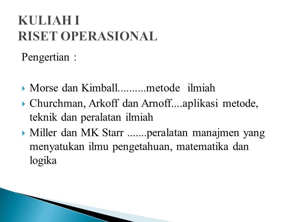 Pengertian :  Morse dan Kimball..........metode ilmiah  Churchman, Arkoff dan Arnoff....aplikasi metode, teknik dan peralatan ilmiah  Miller dan MK Starr.......peralatan manajmen yang menyatukan ilmu pengetahuan, matematika dan logika