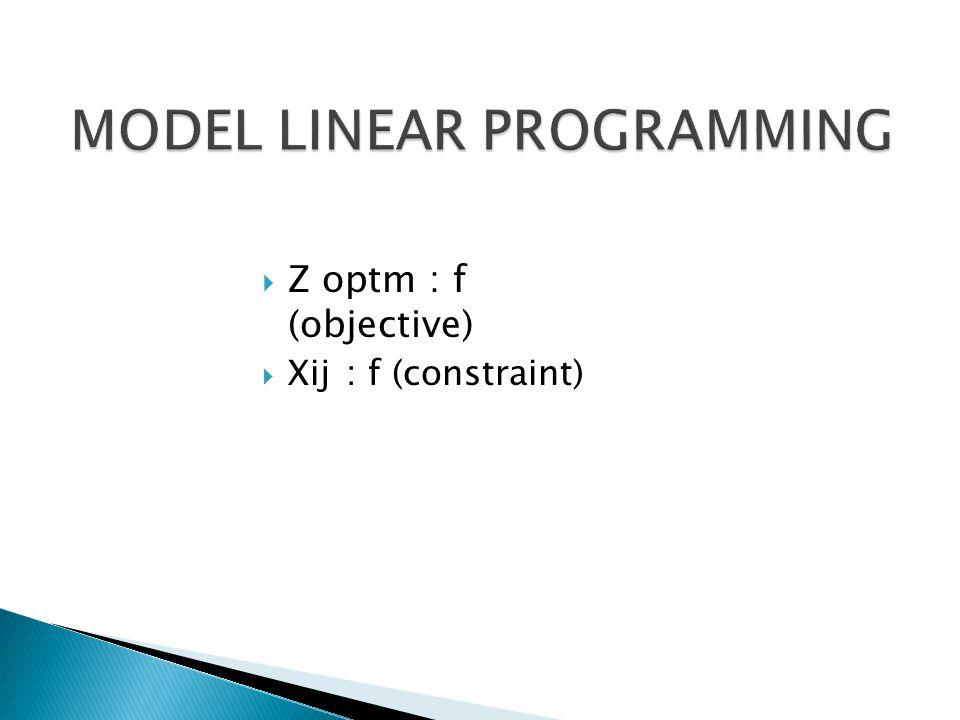 Z optm : f (objective)  Xij: f (constraint)