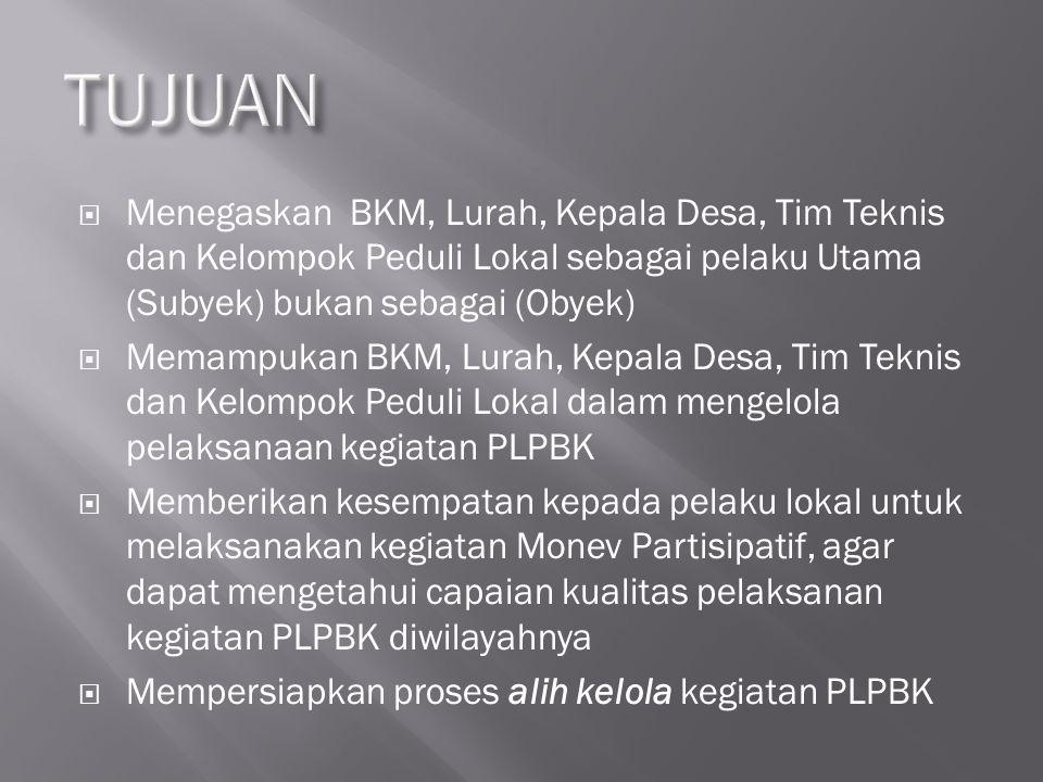  Menegaskan BKM, Lurah, Kepala Desa, Tim Teknis dan Kelompok Peduli Lokal sebagai pelaku Utama (Subyek) bukan sebagai (Obyek)  Memampukan BKM, Lurah
